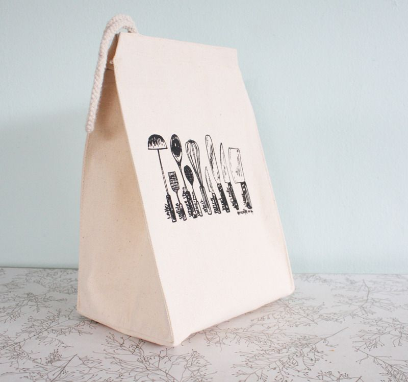 Image of Kitchen utensils lunch bag - recycled cotton