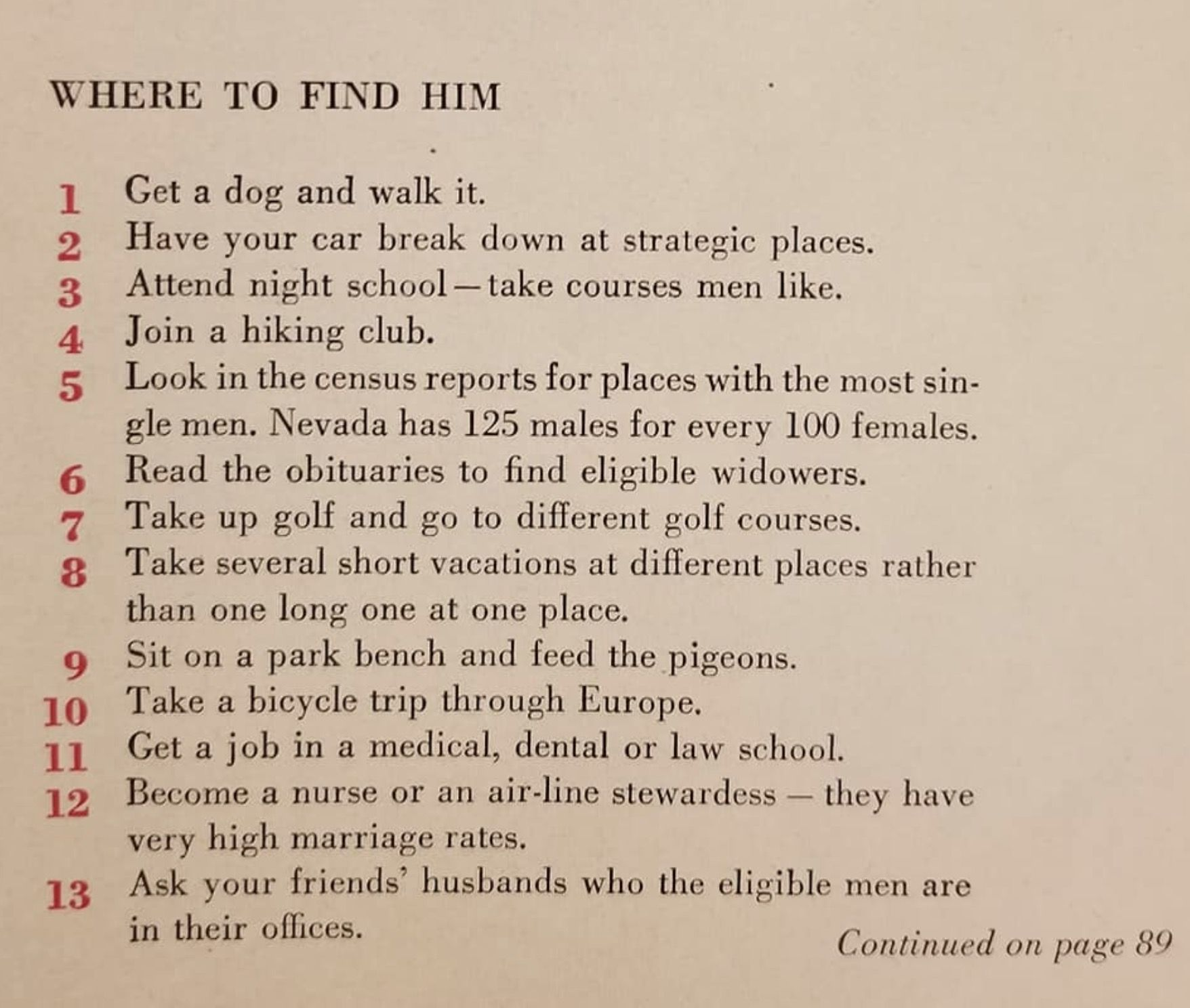 Here Are 129 Ways To Get A Husband, According To A 1958