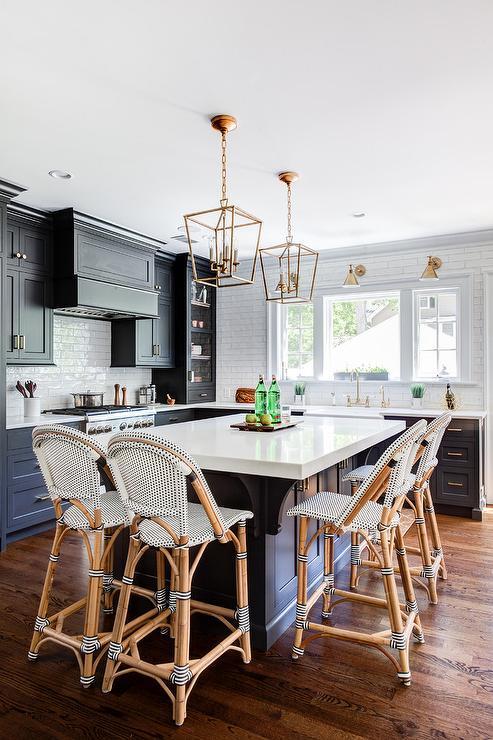 Dark Gray Kitchen Island With Brass Lanterns Transitional Kitchen Benjamin Moore Wrought In 2020 Grey Kitchen Island Kitchen Design Replacing Kitchen Countertops