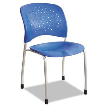 Reve Series Guest Chair W/ Straight Legs, Lapis Plastic, Silver Steel, 2/carton