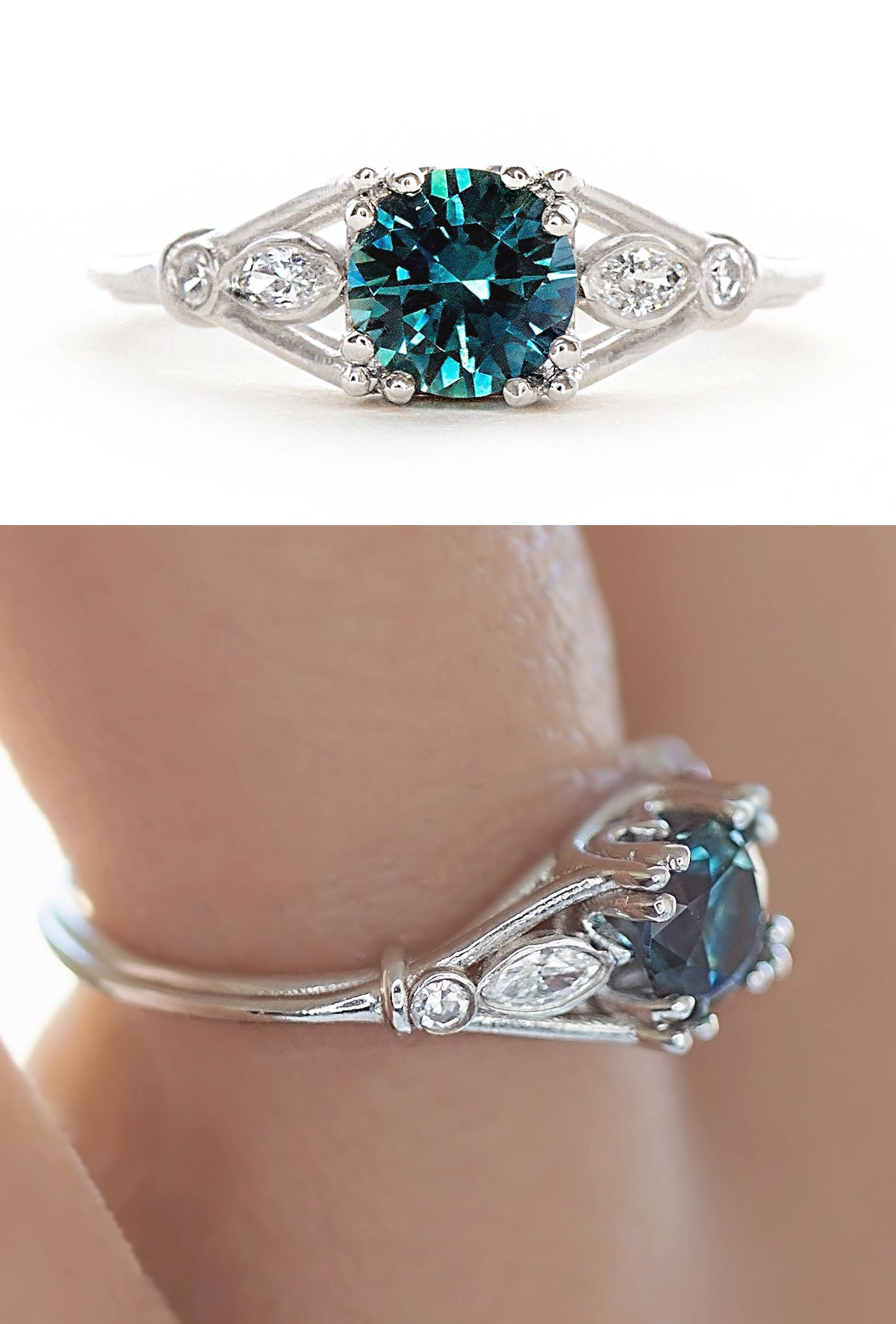 Recycled Platinum Wisping Teal Montana Sapphire Ring