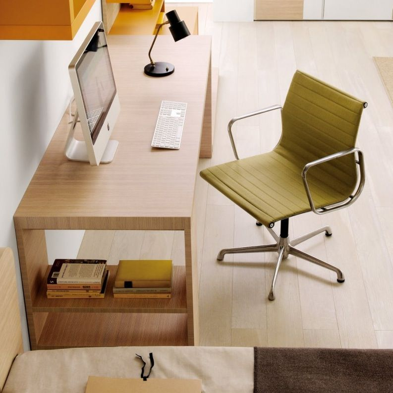 Minimalist Wooden Kids Desk Design With Bookshelf On The