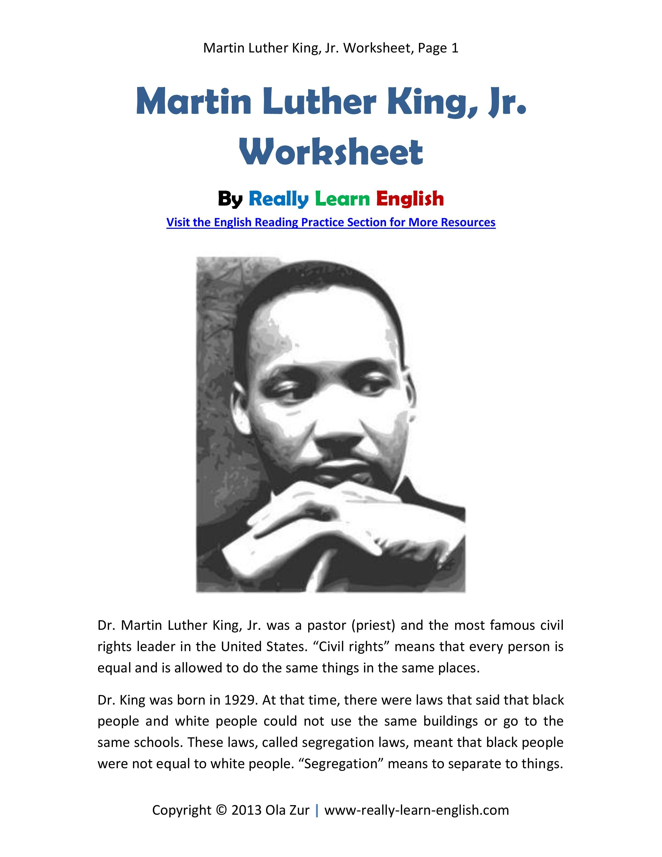 Free printable story and worksheets for the esl ell classroom learn about martin luther king jr and practice english reading comprehension at the same time with this downloadable lesson ibookread Read Online