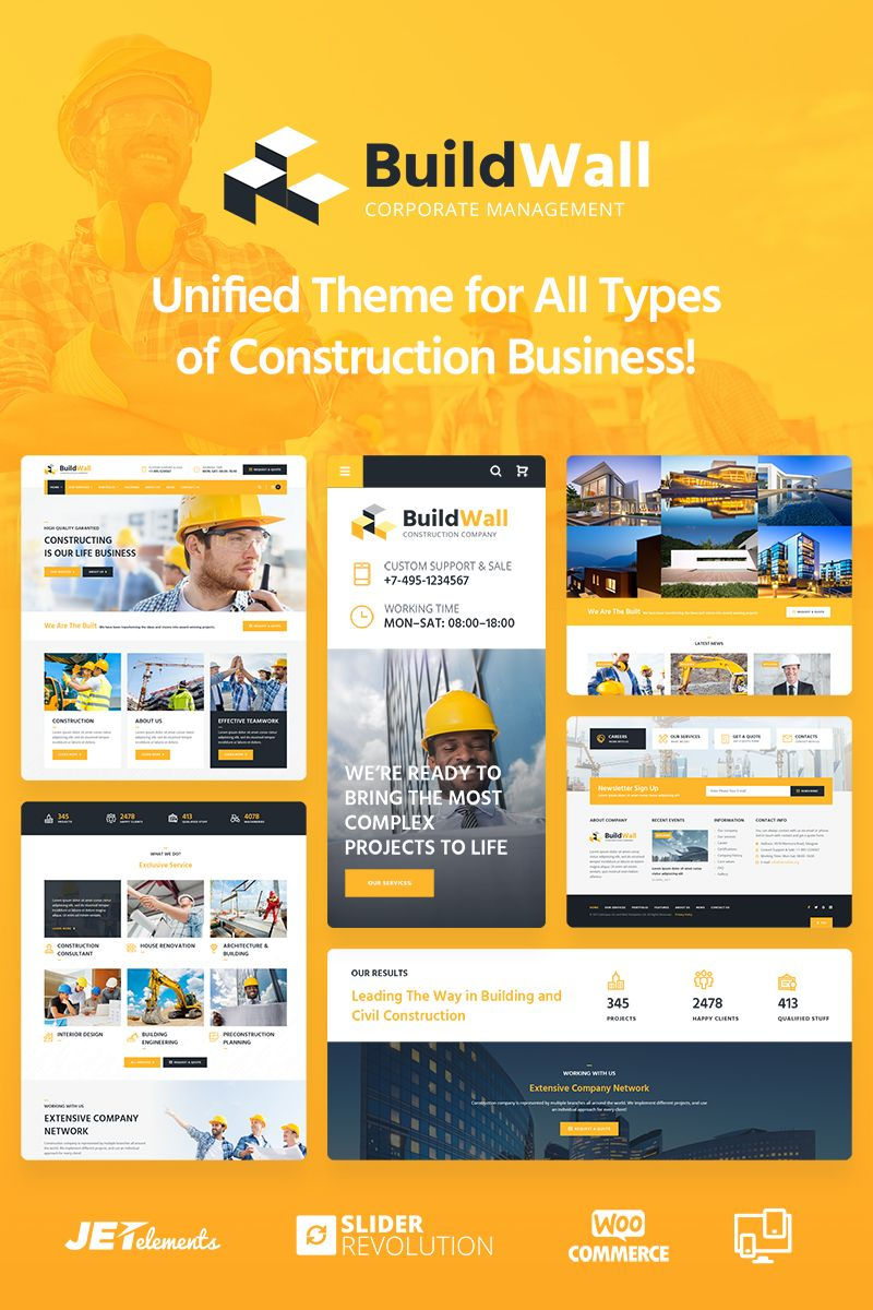 BuildWall - Construction Company Multipurpose WordPress Theme Big Screenshot