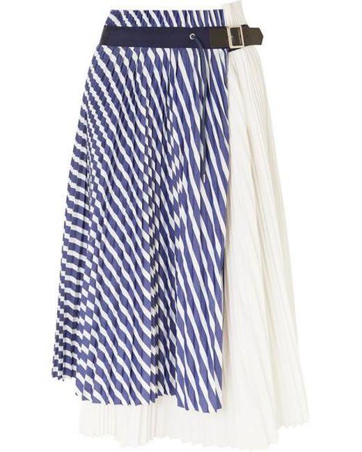 51d3d8496ee0 Women's Blue Pleated Striped Cotton-poplin Wrap Skirt in 2019   半身 ...