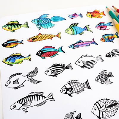 Fish Coloring Page   Druckerei, Ausmalen und Fische