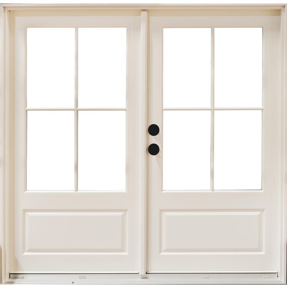 Mp Doors 72 In X 80 In Fiberglass Smooth White Right Hand Inswing Hinged 3 4 Lite Patio Door With 4 Lite Sdl Hn6068r3qd3 In 2020 French Doors Patio Patio Doors Interior Barn Doors