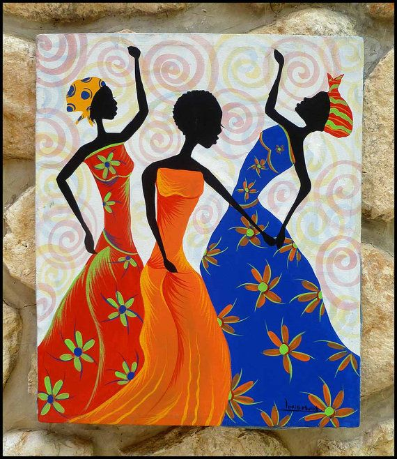 Colorful haitian women dancing haitian art hand for Paintings for home