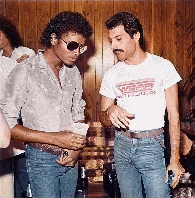 Michael Jackson and Freddie Mercury, early 1980s, colorized : queen #freddiemercury