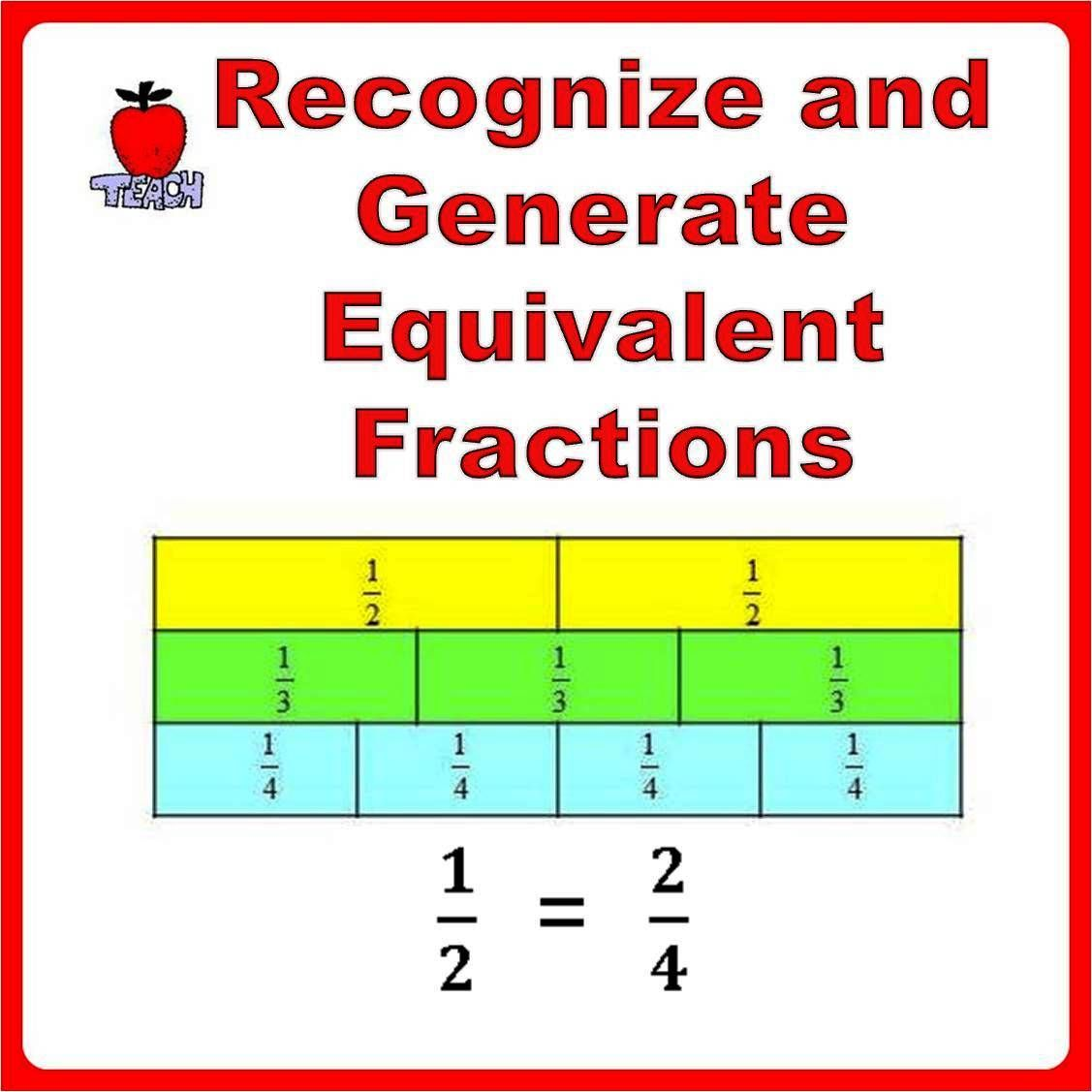 Equivalent Fractions Worksheets 3rd 4th Grade Fractions