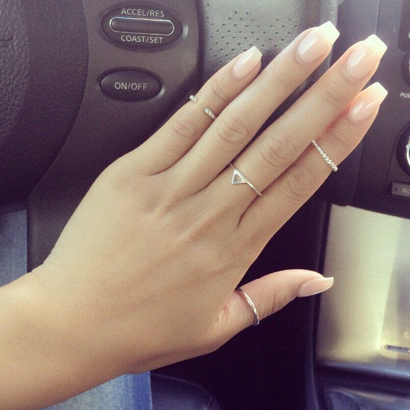 Coffin Tips With Pink-Beige Nude Gel  Nails In 2019 -8776