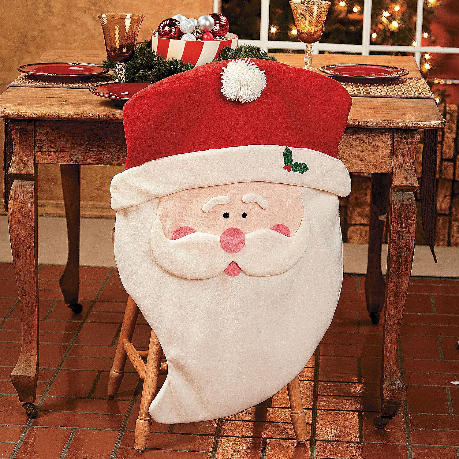 dining chair covers for christmas eddie bauer wooden high replacement cover santa orientaltrading holiday