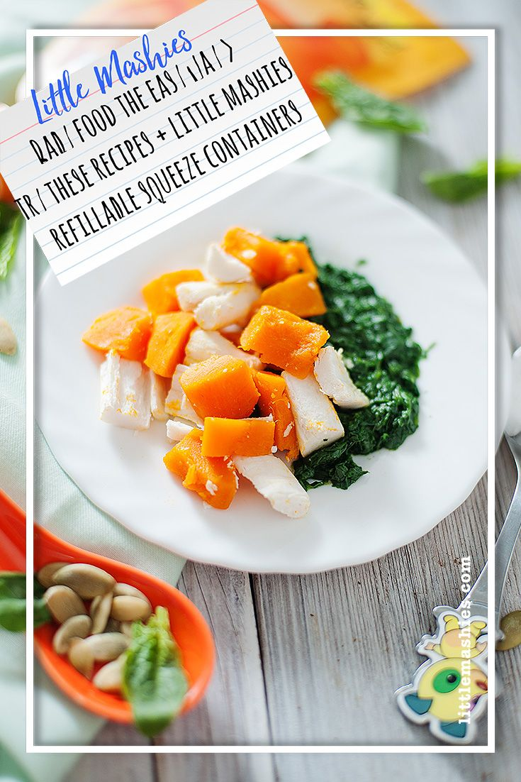 Little mashies fish pumpkin spinach puree baby food
