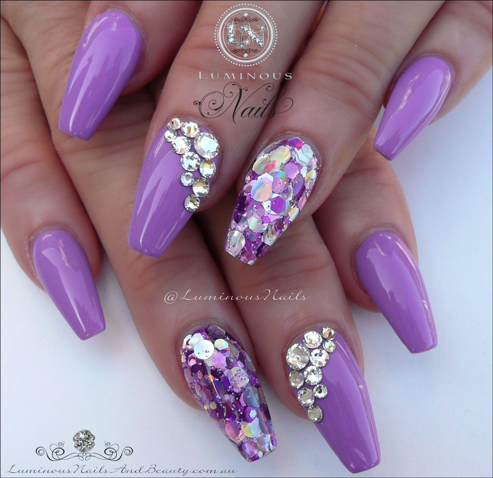 luminous nails: stunning mauve acrylic nails with bling
