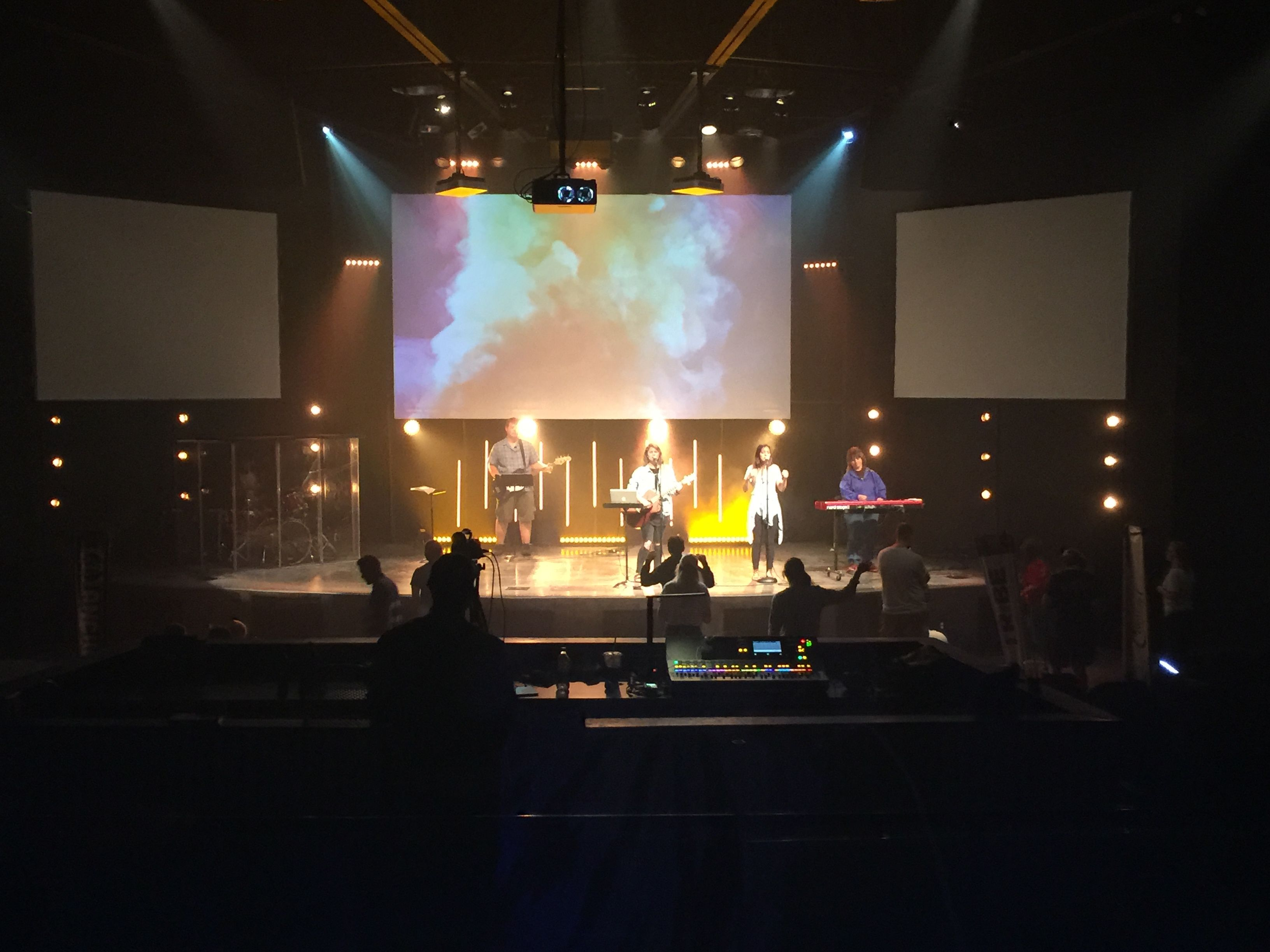 Stage Lighting For Church YTH @ Journey Church In Kenosha, WI. List: Two  Martin Scanners (above Stage Between Main And Side Screens)