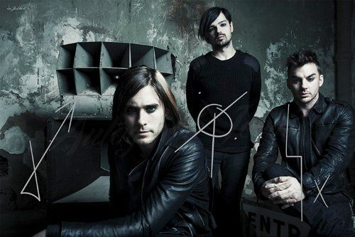 30 30 Seconds to Mars American Rock Band Poster Leto Music Photo Black White
