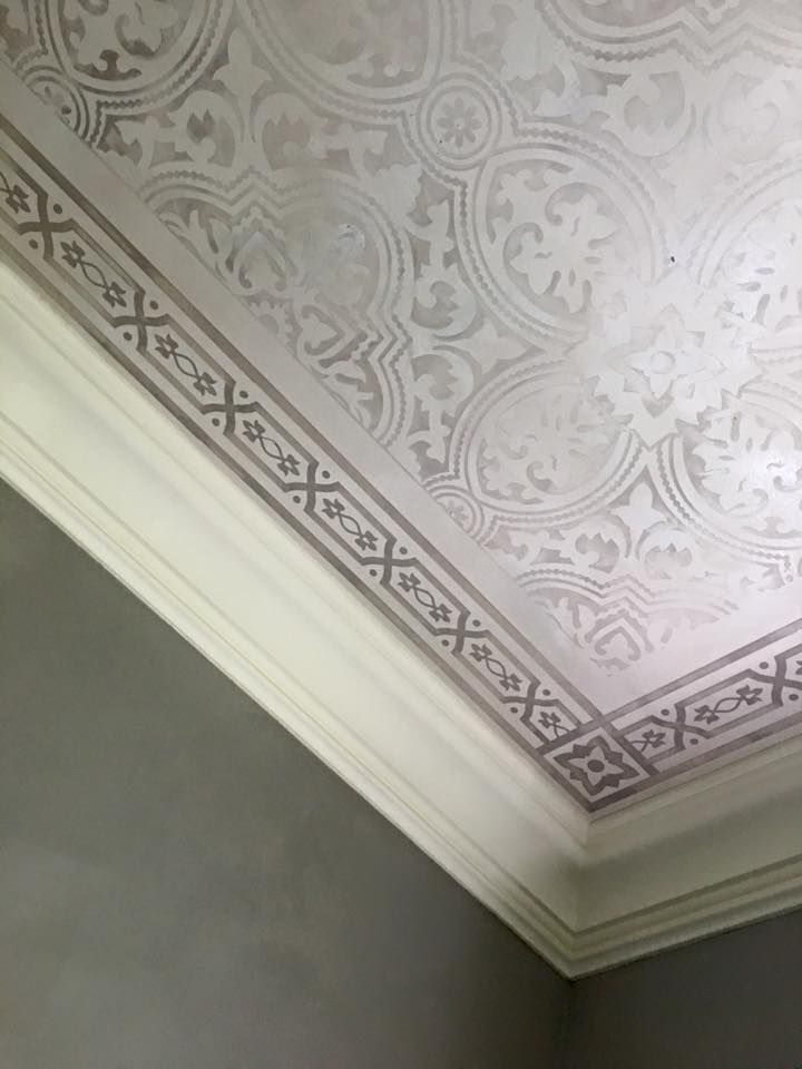 Allover European Tile Pattern And Ceiling Design