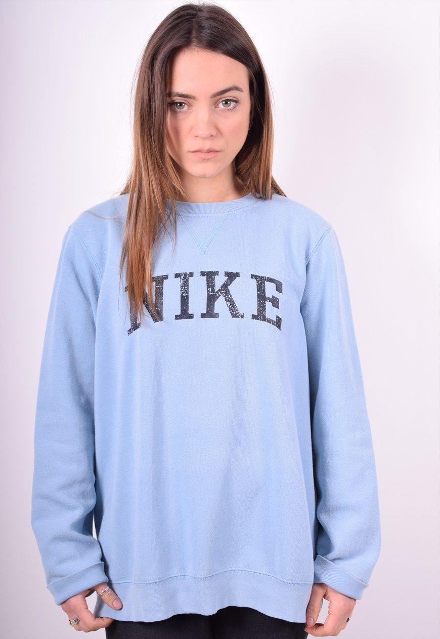Nike Womens Vintage Sweatshirt Jumper Size 16 Blue 90 S Messina Girl Asos Marketplace Sweat Women Vintage Sweatshirt Sweatshirts Women