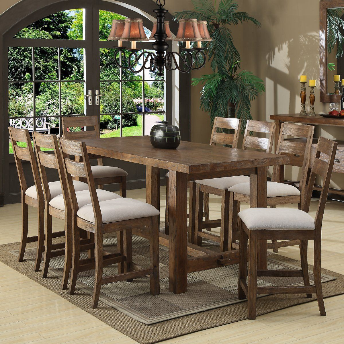 Emerald Home Bellevue 9 Pc Counter Height Set Dining Table Trestle Dining Tables Dining