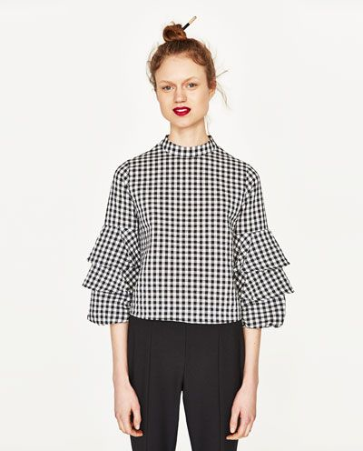 image 6 of gingham check top from zara