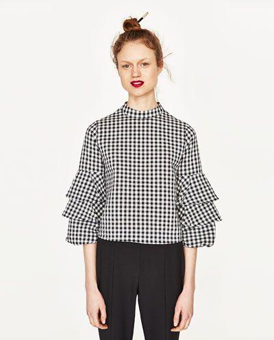 colores armoniosos 60% de liquidación ofrecer descuentos CUERPO CUADRO VICHY - Zara | MODA // Blusas | Blusas de moda ...