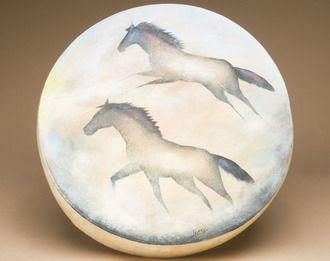 "Painted Shaman Drum 16"""" -Wild Horses (pd50)"