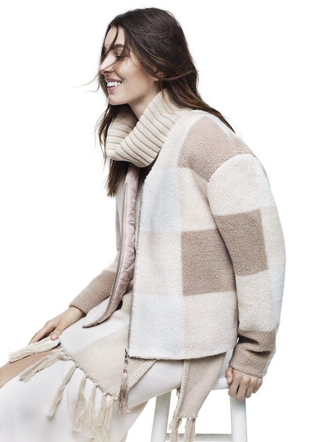 Adam Lippes for Target cowl-neck sweater and sherpa jacket on ...