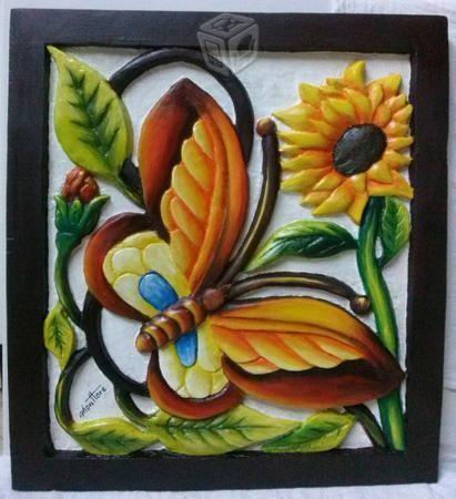 Girasoles tallados en madera buscar con google balsa for Imagenes de cuadros abstractos con texturas