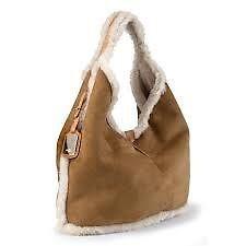 New Ugg Shearling Chestnut Brown Suede Sheepskin Fur Hobo Handbag Tote Bag Ebay