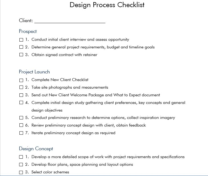 Julia molloy interior design process checklist design for Interior design process