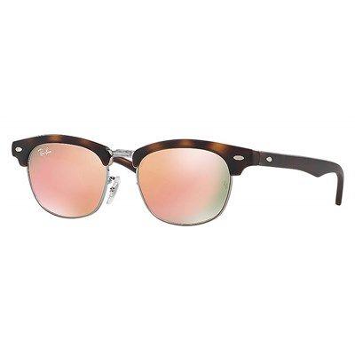 Óculos de Sol Infantil Ray Ban Clubmaster Tartaruga Fosco com Lente Rosa  Espelhada Junior - RJ9050S70182Y
