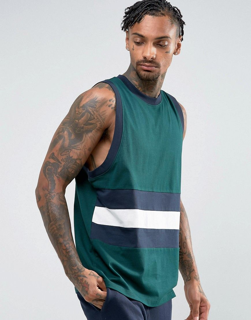 ASOS Oversized Tank With Contrast Retro Color Block In Green at asos.com