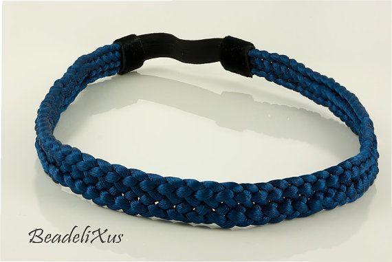 regalos de kumihimo diadema negro marrón azul marino por Beadelixus