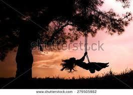 Výsledek obrázku pro woman on swing silhouette