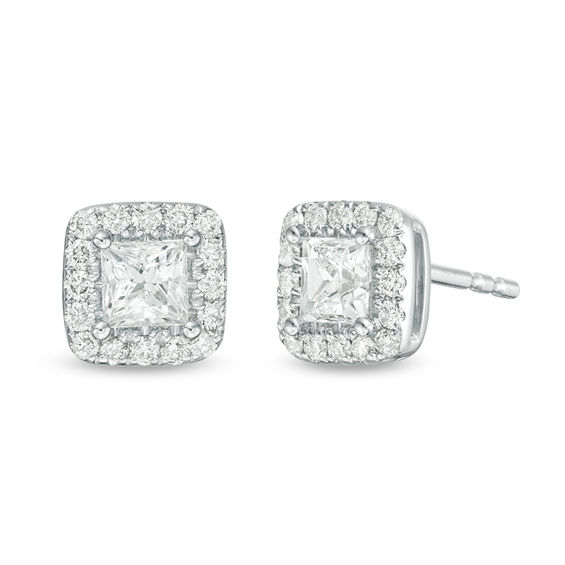 1 Ct T W Princess Cut Diamond Frame Stud Earrings In 14k