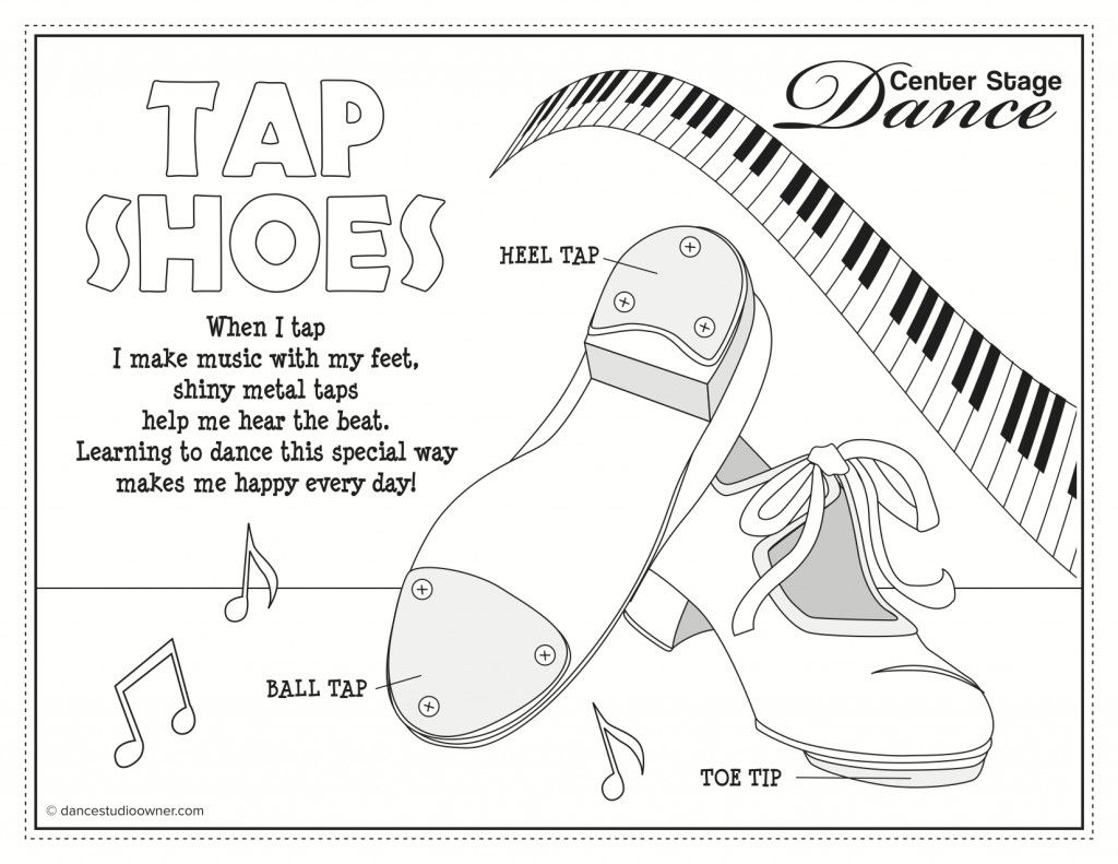 Color Page Tap Shoes Dance Coloring Pages Tap Dance Toddler Dance