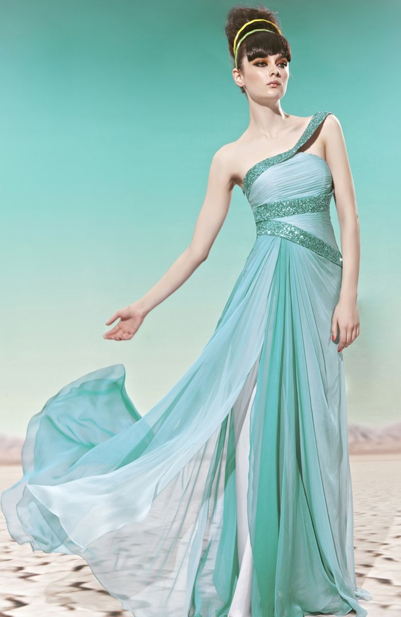 I love the mint color! The Sequin Belted Asymmestric Goddess Dress ...