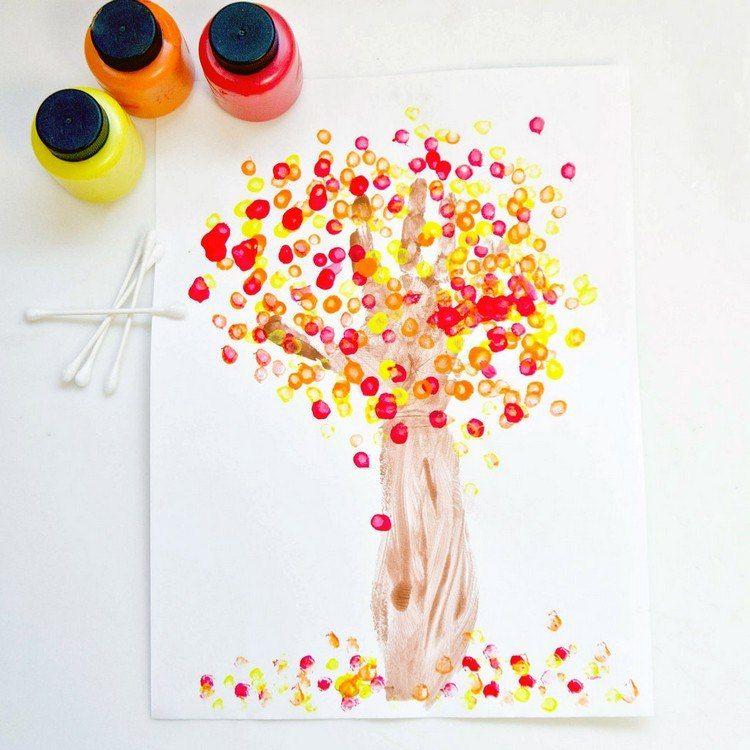 Herbstbilder Mit Kinderabdrücken Malen Diy Idee