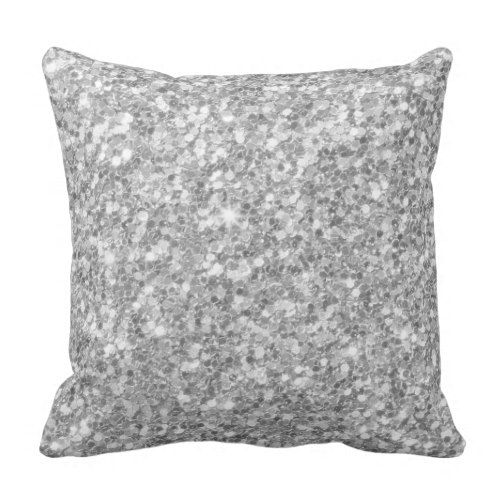 Modern white And Silver Gray Glitter Pattern Throw Pillow