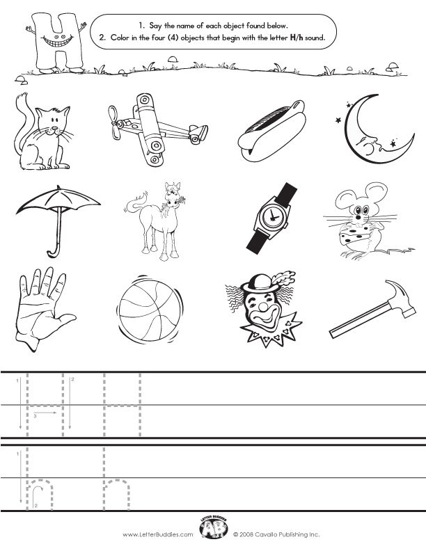 Printable Worksheets letter h worksheets for kindergarten : Initial Sounds – Worksheet H | alphabet ideas | Pinterest ...