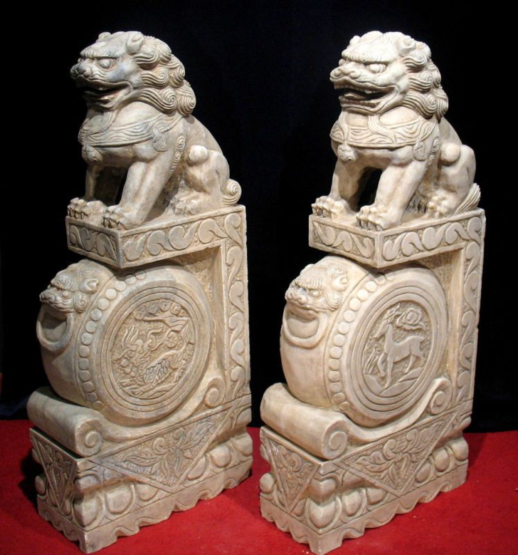 40 Quot Chinese Antique Marble Foo Dog Kilin Statue Pair