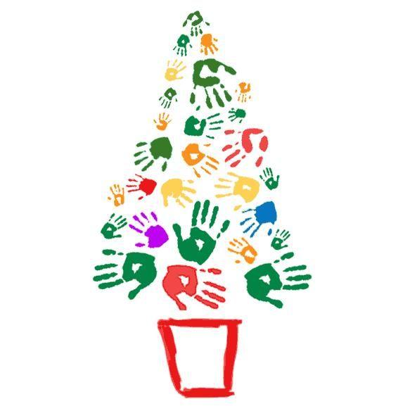49cef393fe0 Arbol de navidad pintado con las manos