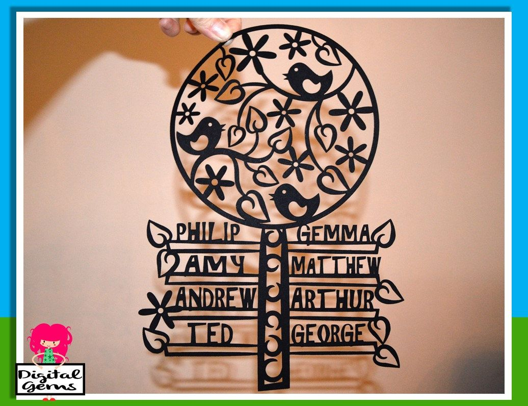 On Sale Family Tree Papercut Template Svg Dxf Cutting File For