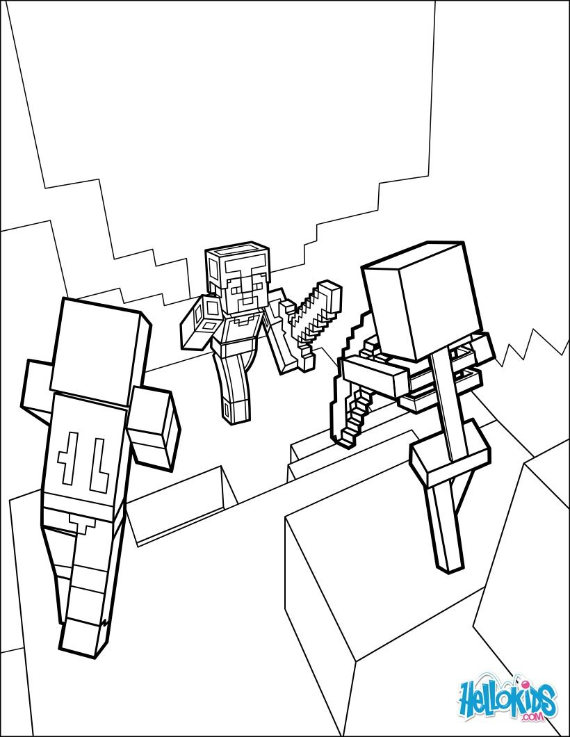 Dangerous Dungeon Fights coloring page from Minecraft