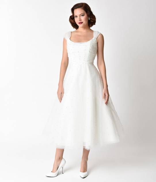 67cbc26c9 Voodoo Vixen 1950s White Pearl Beaded Cap Sleeve Betsy Bridal Dress ...