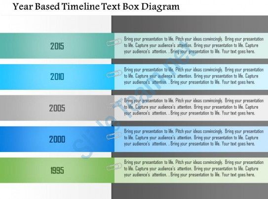 Year Based Timeline Text Box Diagram Powerpoint Template