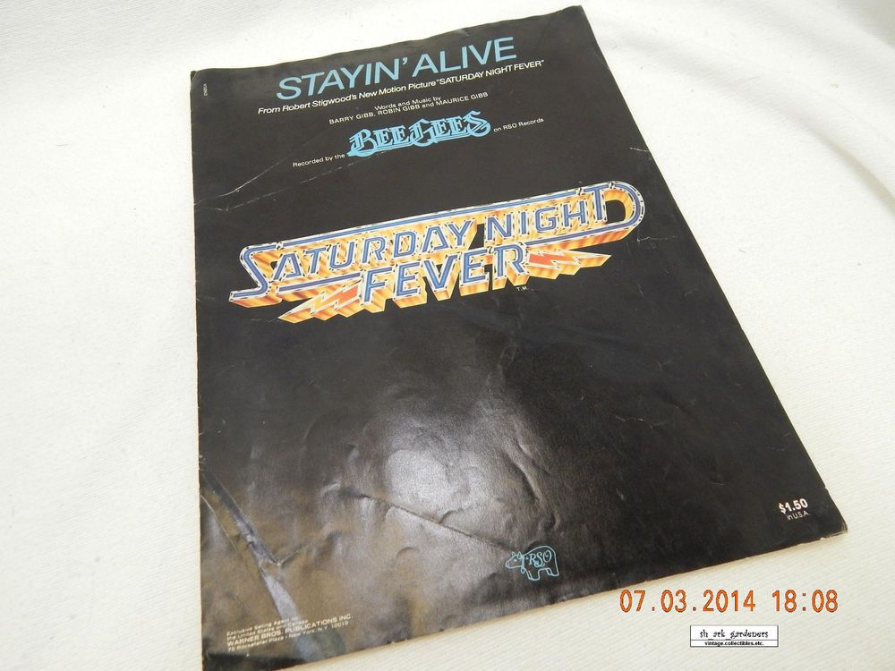 """""""STAYIN' ALIVE""""! SHEET MUSIC! THE BEE GEES! VINTAGE 1977"""