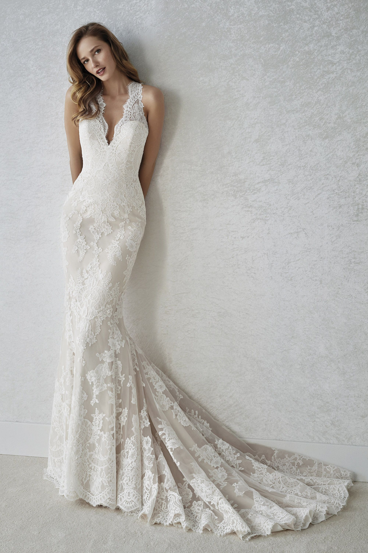 Brautkleid Familia Meerjungfrau Spitze White One in 19