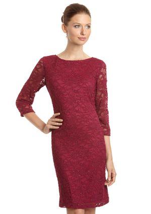 ONYX NITE Three-Quarter Sleeve Sparkle Lace Dress with Beads
