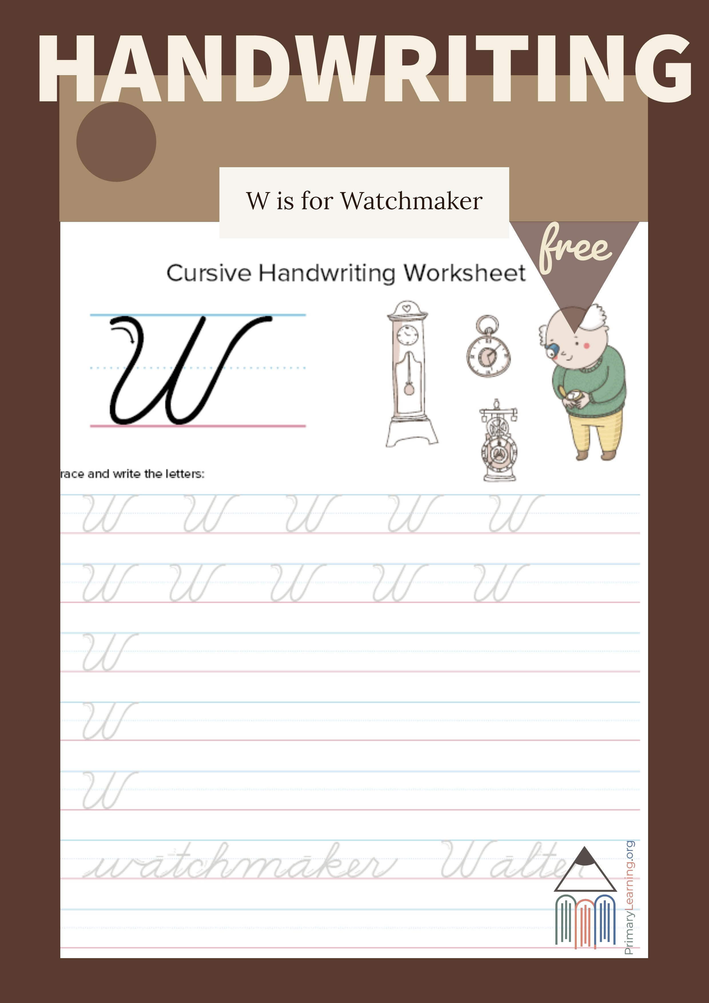 Cursive Uppercase W Worksheet With Images